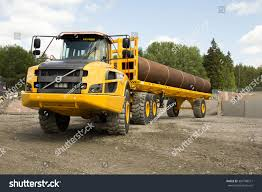 volvo dump truck eskilstuna sweden june 25 2015 pipe stock photo 304788311