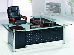 Desk Modern by Stylish Black Leather Office Chair Added Contemporary Glass Top