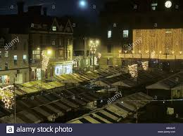 market square with stalls on winter with lights