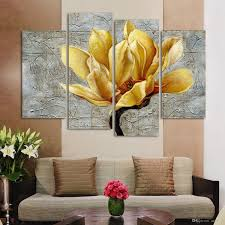 fashion unframed abstract painting 4 panels gold flower modern oil fashion unframed abstract painting 4 panels gold flower modern oil painting on canvas wall art gift top home decoration h 040 wall art printed painting