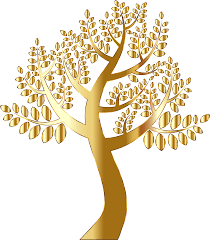 clipart simple gold tree without background