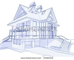 blueprint for house 3d blueprint house vector technical draw stock vector 17455735