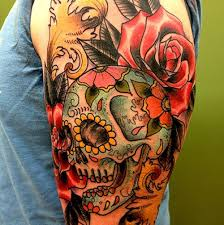 half sleeve skull cool images sugar skull and roses