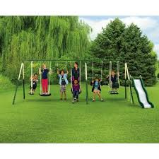 Playground Sets For Backyards by 9 Play Metal Play Set Swing And Slide With Kmart