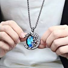 blue moon necklace images Unisex fashion blue crystal moon design pendant necklace long jpg
