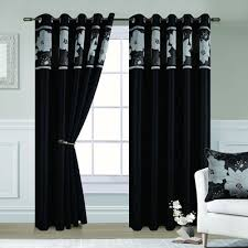 Silver Black Curtains Black And Silver Eyelet Curtains Dahlia Chiltern Mills