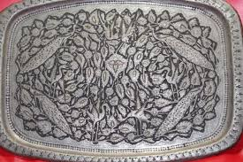 engraved silver platter ancient c1850 indo mughal handmade copper silver tray