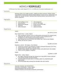 Sample Plain Text Resume by Cashier Cv Example For Sales Livecareer