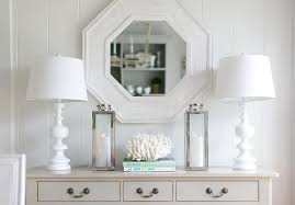 White Foyer Table Ivory Foyer Table With Whitewashed Octagon Mirror Cottage