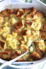 sweet pineapple casserole is a cross between bread pudding and