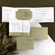 tri fold invitations happily after wedding invitations linens wedding rings