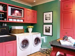 laundry room cool room organization hang artwork turquoise blue