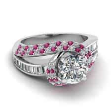rings colored stones images Swirl halo diamond and pink sapphire engagement ring with baguette jpg