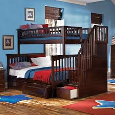 bedroom wooden bunk beds with stairs plus bottom drawers and