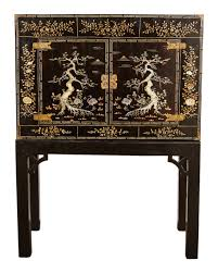 Chinese Secretary Desk by 19th Century Chinese Lacquer 4 Door Cabinet Traditional Asian