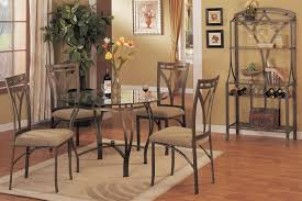 Round Glass Top Dining Table Set Poundex F2028 5 Pcs Round Dining Table Set In Bronze Finish