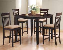 table and four bar stools in cappuccino finish with high dining