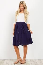 maternity skirt navy solid button maternity skirt