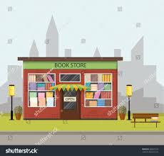 Shop Bookshelves by Vintage Bookstore Citys Skyline Flat Style Stock Vector 580075732