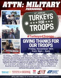 free thanksgiving turkey give away toyota of boerne turkeys for troops new toyota scion dealership
