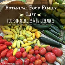 list of botanical food families for cross reactivity allergies