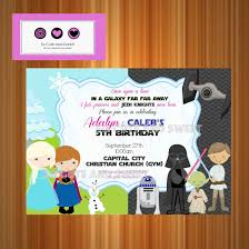 frozen and star wars birthday invitation disney princesses