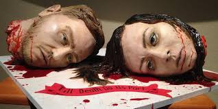 severed head wedding cake totally kills at reception