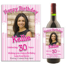 wine birthday personalised pink hearts happy birthday wine champagne bottle