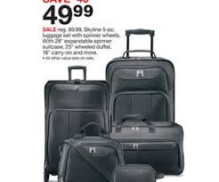 skyline 5 pc luggage set with spinner wheels deal at target black