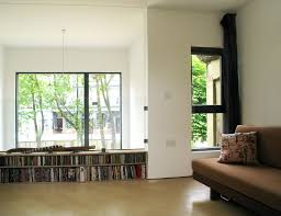long low bookcase family room contemporary with balcony bookcase
