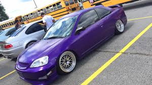 ricer car spotted this ricer honda civic with a purple wrap and has a can