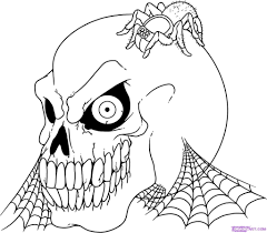 scary halloween skulls coloring pages for spooky printable