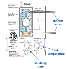 exhaust fan temperature switch garage fan controller with fan delay and temperature settings cool