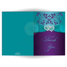 wedding thank you card purple aqua bllue white floral