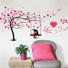popular leaf wall decals buy cheap leaf wall decals lots from 123cm 55cm big tree wall sticker with red heart leaf removable decorative wall decals for