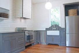 shiplap kitchen backsplash with cabinets gray lower kitchen cabinets with white shiplap backsplash