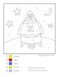 printable color by number rocket ship color by numbers