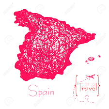 Travel Time Map Time To Travel Drawn By Hand A Map Of Spain Outline Of Japan