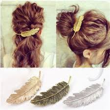 feather hair clip women gold silver leaf feather hair clip hairpin barrette bobby