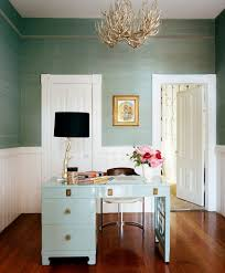 mint green grasscloth and desk plus white gold black home