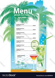 drink menu template free template designs of cocktail menu royalty free vector image