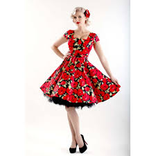 poppy flower dress christmas dress red floral dress pin up dress