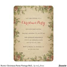 rustic christmas party vintage holly wreath border card