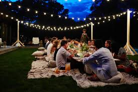 bright string lights patio ideas for wedding