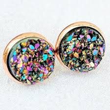 druzy stud earrings ultra violet on gold druzy stud earrings hypoallergenic