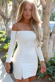white long sleeve off shoulder bodycon casual dress bodycon