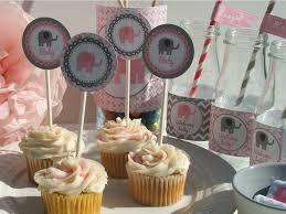 pink and gray elephant baby shower decorations unavailable