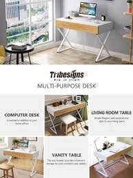 Modern Computer Desks For Home by Amazon Com Tribesigns Computer Desk With 2 Drawers X Shaped