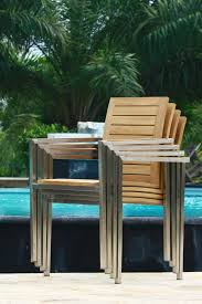 Teak Stainless Steel Outdoor Furniture by Teak And Stainless Steel Stacking Chairs Riviera