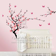 Cherry Blossom Tree Wall Decal For Nursery Pink Cherry Blossom Wall Decals Flower By Cuma Wall Decals On Zibbet